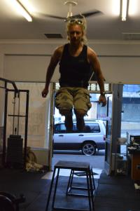 Personal trainer Steve doing a box jump